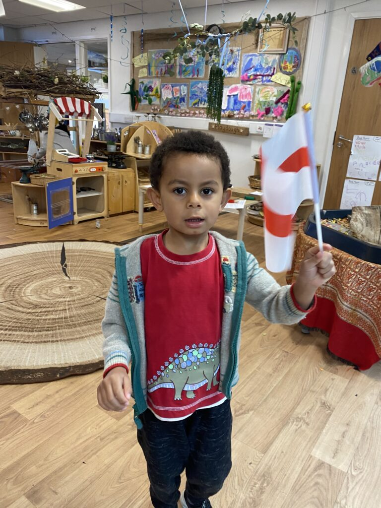 We can recognise the England flag.