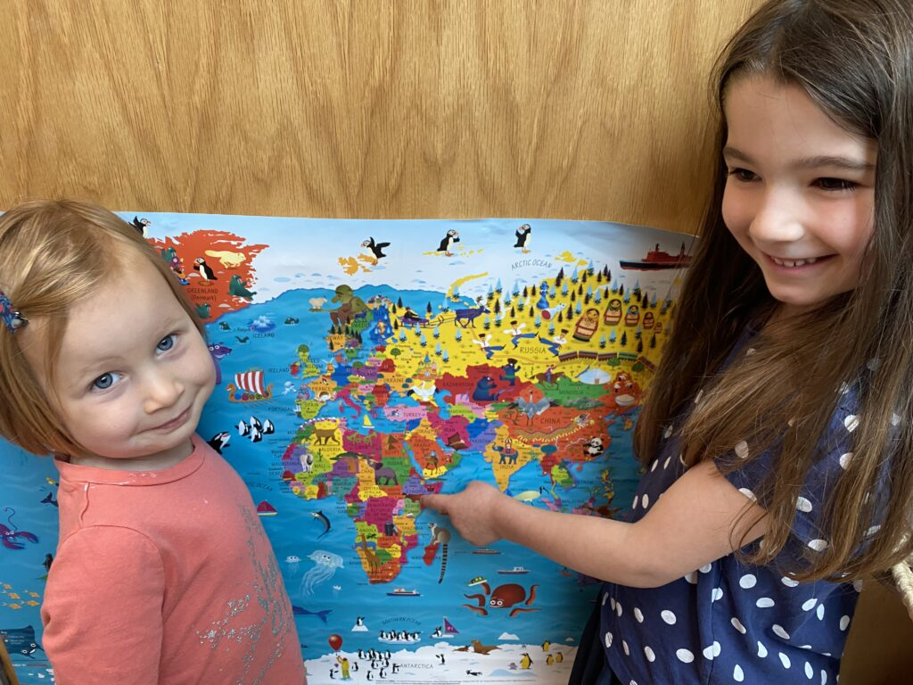 We have been learning where differnt countries are on the world map.